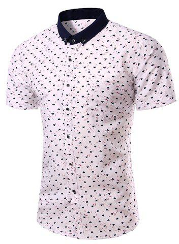 Online Casual Heart Printing Turn Down Collar Short Sleeves Shirt For Men