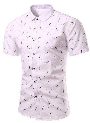 Trendy Casual Plant Printing Turn Down Collar Short Sleeves Shirt For Men