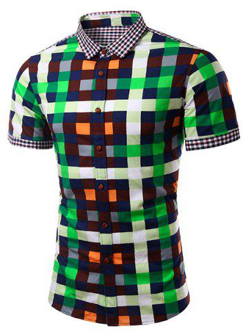 Fancy Casual Splicing Checked Turn Down Collar Short Sleeves Shirt For Men