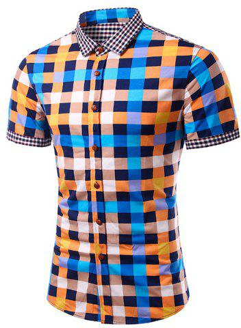 Discount Casual Splicing Checked Turn Down Collar Short Sleeves Shirt For Men BLUE M