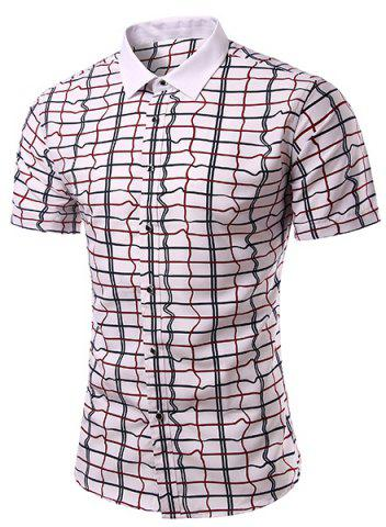Cheap Casual Checked Turn Down Collar Short Sleeves Shirt For Men