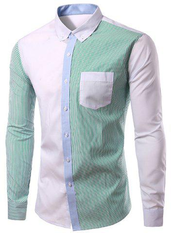 Outfit Casual Turn Down Collar Splicing Long Sleeves Shirt For Men GREEN M