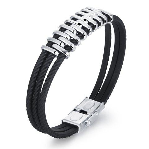 Vintage Layered Alloy Bracelet - Black