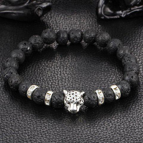 Fashion Frosted Buddha Beads Leopard Head Bracelet SILVER