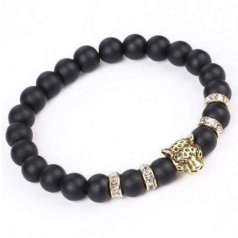 Chic Natural Stone Leopard Head Beads Bracelet - GOLDEN  Mobile