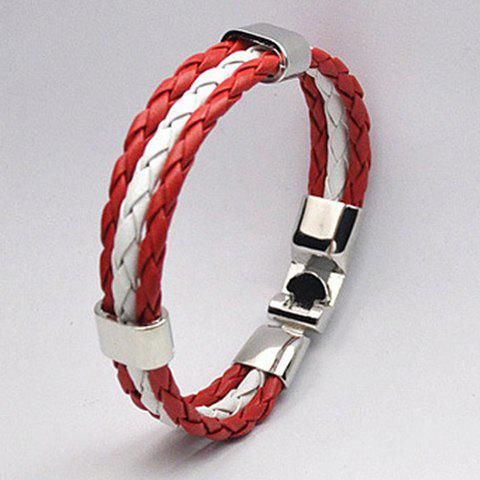 Unique Braided Faux Leather Rope Canada Bracelet - RED  Mobile