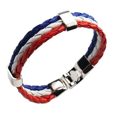 Unique Faux Leather Braided Rope France Bracelet - WHITE  Mobile