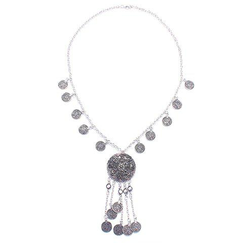 Best Retro Embossed Flower Coin Fringed Necklace