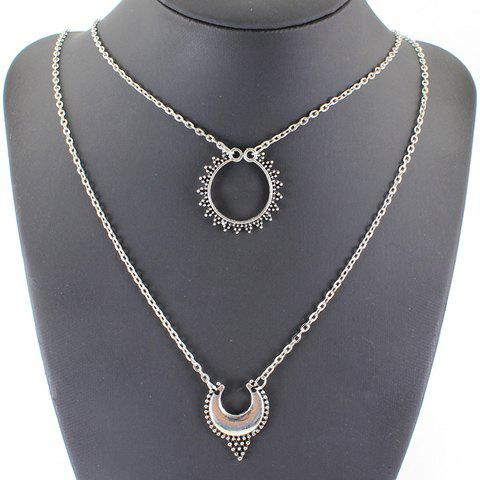 Latest Vintage Multilayered Hollow Out Moon Necklace SILVER