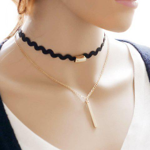 Discount Vintage Multilayered Bar Choker Necklace BLACK