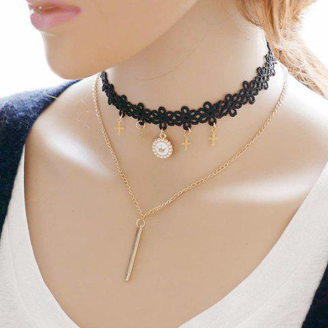 Fancy Vintage Layered Crown Cross Choker Necklace
