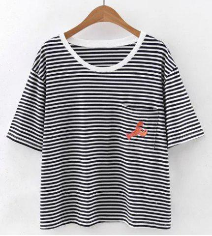 Sale Stylish Scoop Neck Short Sleeves Striped Embroidered Tee For Women