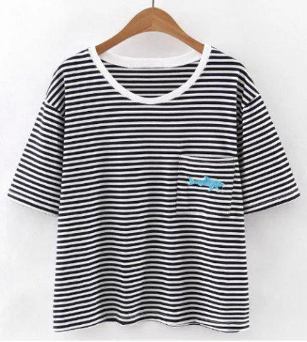 Chic Casual Scoop Neck Short Sleeves Striped Embroidered Tee For Women