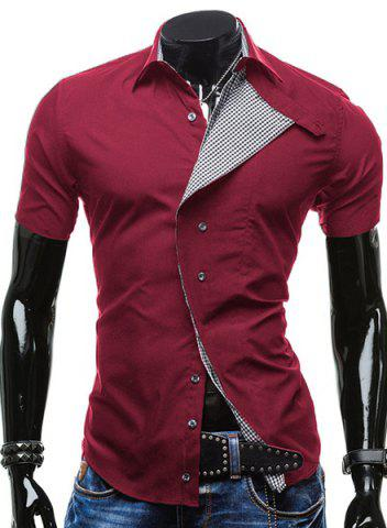 Turn-Down Collar Checked Lining Short Sleeve Shirt For Men - Red - 2xl