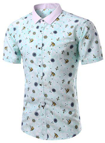 Online Casual Turn Down Collar Printing Short Sleeves Shirt For Men GREEN M