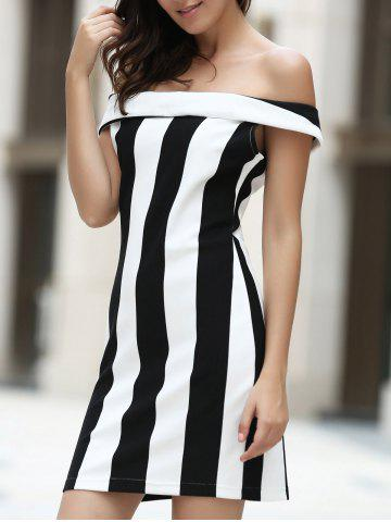 Outfits Elegant Off-The-Shoulder Striped Bodycon Mini Dress For Women