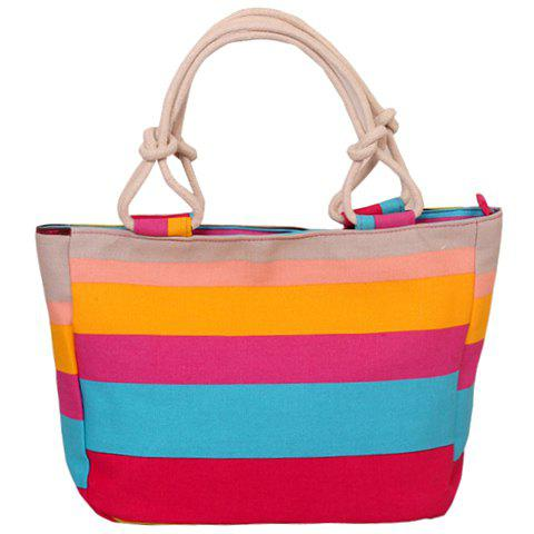 Outfits Casual Colorful Stripe and Canvas Design Tote Bag For Women - RED  Mobile