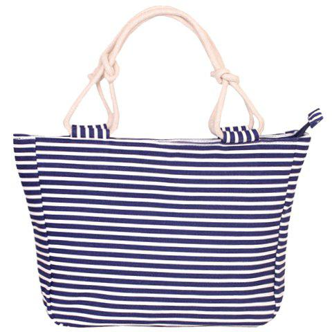 Fancy Navy Style Striped and Canvas Design Beach Tote Bag