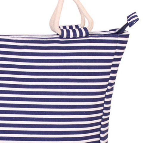 Trendy Navy Style Striped and Canvas Design Beach Tote Bag - STRIPE  Mobile