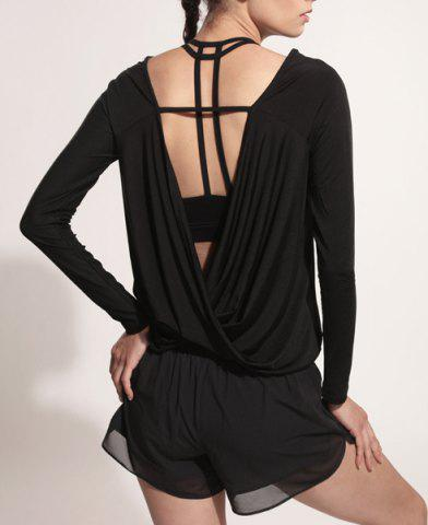 Shops Sporty Scoop Neck Long Sleeve Backless Black Gym Top For Women