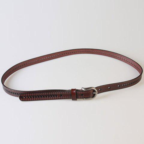 Trendy Pin Buckle Hollow Ellipse Embossing Skinny PU Leather Belt - COFFEE  Mobile
