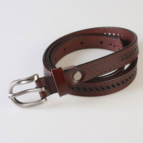Shop Pin Buckle Hollow Ellipse Embossing Skinny PU Leather Belt - COFFEE  Mobile