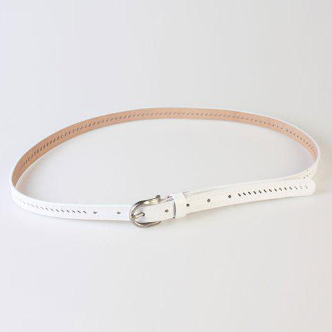 Outfit Pin Buckle Hollow Ellipse Embossing Skinny PU Leather Belt - WHITE  Mobile