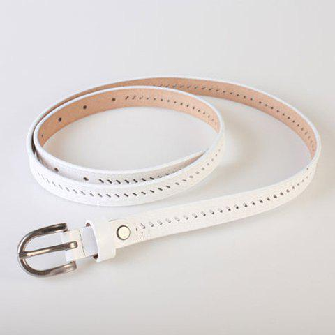 Chic Pin Buckle Hollow Ellipse Embossing Skinny PU Leather Belt - WHITE  Mobile