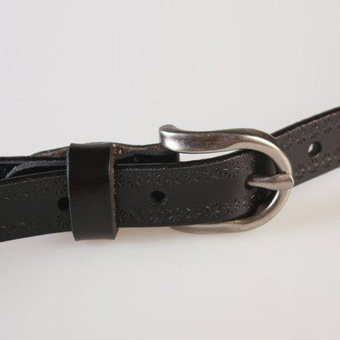 Outfits Pin Buckle Hollow Ellipse Embossing Skinny PU Leather Belt - BLACK  Mobile
