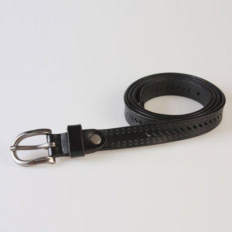 Latest Pin Buckle Hollow Ellipse Embossing Skinny PU Leather Belt - BLACK  Mobile