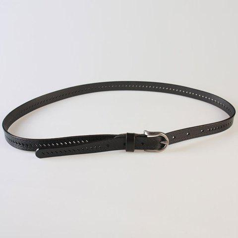 Chic Pin Buckle Hollow Ellipse Embossing Skinny PU Leather Belt BLACK