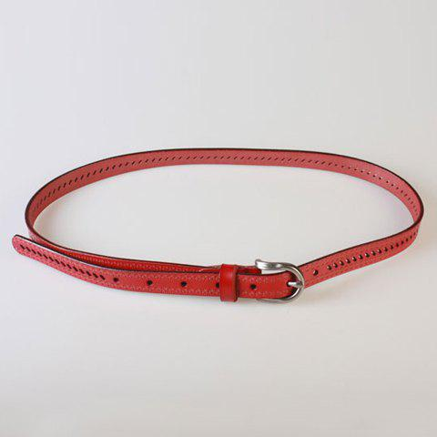 Latest Pin Buckle Hollow Ellipse Embossing Skinny PU Leather Belt - RED  Mobile