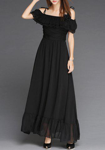 Fashion Elegant Off-The-Shoulder Flounce Pleated Short Sleeve Dress For Women