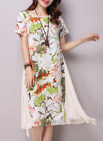 Discount Chic Round Neck Short Sleeve Ink Painting Print Women's Loose-Fitting Dress LIGHT YELLOW M