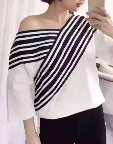 Affordable Sweet V-Neck 3/4 Sleeves Stripe Print Women's T-Shirt