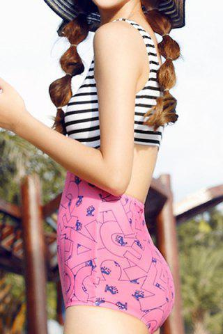 Discount Slimming Stripe Print Hollow Out Openback Women's Swimsuit