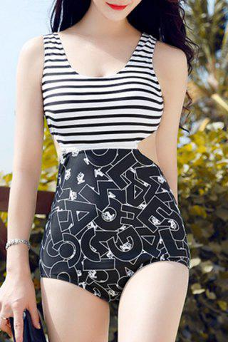 Store Slimming Stripe Print Hollow Out Openback Women's Swimsuit BLACK M