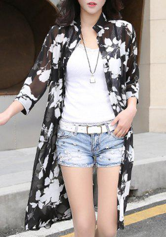 Fashion Stylish Stand Collar Lily Print 3/4 Sleeve Cardigan For Women