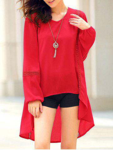 Outfits Chic Women's Long Sleeve Red Asymmetrical Blouse RED S