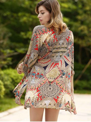 Best Chic Women's Ethnic Print Thin Cardigan COLORMIX S
