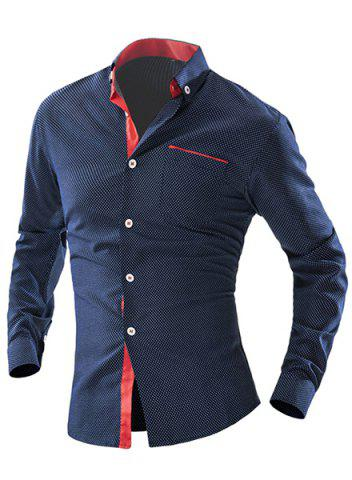 Sale Turn-Down Collar Color Block Spliced Polka Dot Long Sleeve Shirt For Men CADETBLUE L