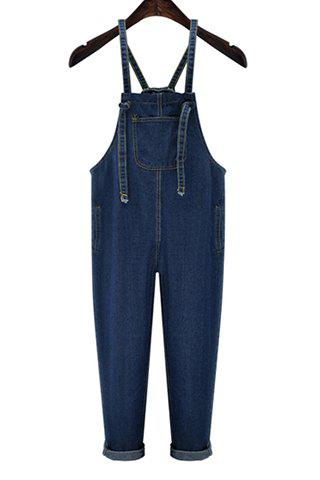 Fancy Trendy High Waist Front Pocket Design Women's Suspenders  Denim Pants