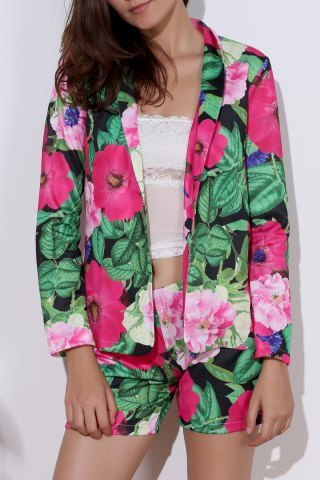 Fashionable Long Sleeve Full Print Coat + Slimming Colorful Shorts Twinset For Women - Colormix - S