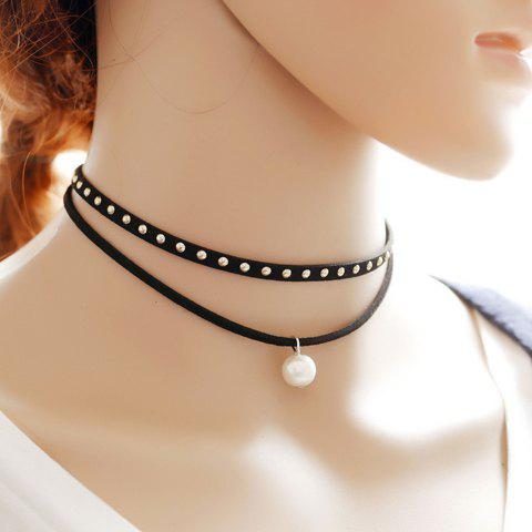 Retro Layered Rivet Faux Pearl Choker Necklace - BLACK