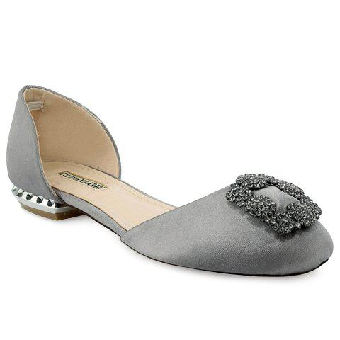 Shops Elegant Satin and Rhinestones Design Flat Shoes For Women