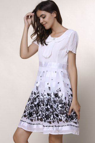 Affordable Sweet Scoop Collar Short Sleeve Printed Chiffon Women's Dress - L WHITE Mobile