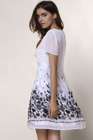 New Sweet Scoop Collar Short Sleeve Printed Chiffon Women's Dress - L WHITE Mobile