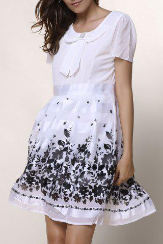 Online Sweet Scoop Collar Short Sleeve Printed Chiffon Women's Dress - L WHITE Mobile