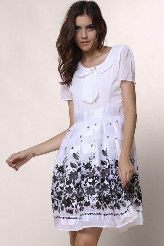 Discount Sweet Scoop Collar Short Sleeve Printed Chiffon Women's Dress - L WHITE Mobile