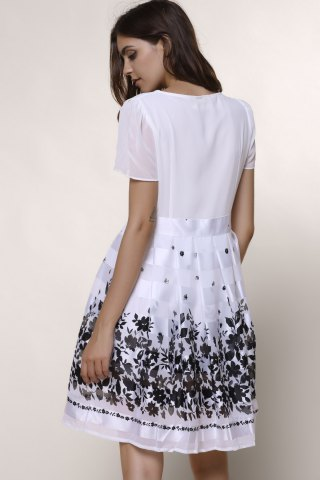Trendy Sweet Scoop Collar Short Sleeve Printed Chiffon Women's Dress - L WHITE Mobile